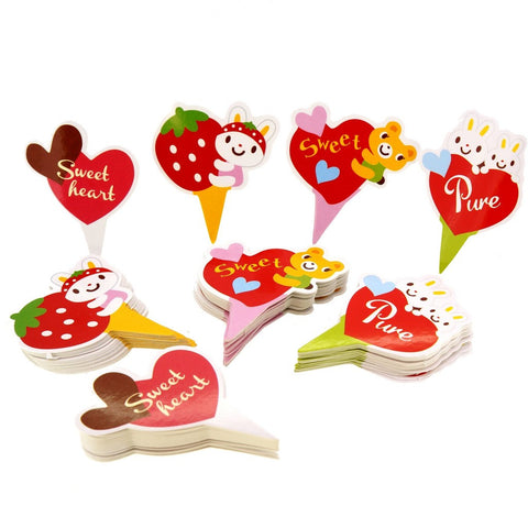 Cute Rabbit Bear Heart Mix Theme Favor Tags Cupcake Bun Cake Topper Party Decoration, Pack of 95