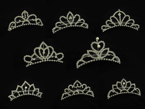 Pack of 8 Crystal Wedding Bridal Jewelry Bouquets Hair Crowns Tiaras Accessories