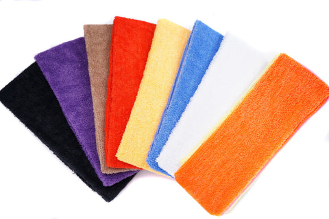 Color Terry Cloth Youth Sports Sweatband Headband, Pack of 8