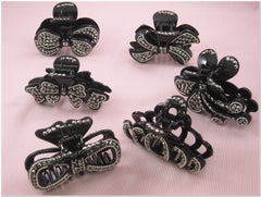 Pack of 6 Black Rhinestone Fashion Plastic Hair Claw Accessories
