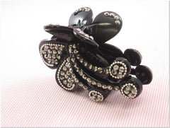 Black Rhinestone Fashion Plastic Hair Claw Accessories Style D