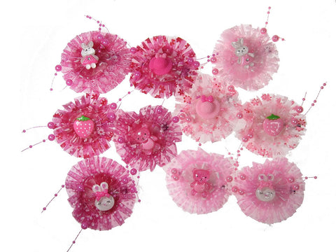 Pack of 10 Pink Color Girl Baby Toddler Mixed Design with Organza and Beads Hair Clips