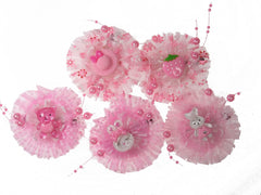 Pack of 5 Pink Color Girl Baby Toddler Mixed Design with Organza and Beads Hair Clips