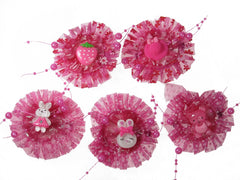 Pack of 5 Deep Pink  Color Girl Baby Toddler Mixed Design with Organza and Beads Hair Clips