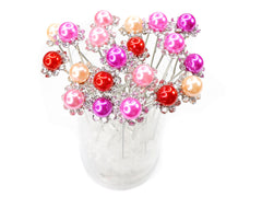 Mix Color Faux Pearl Crystal Flower Hair Pins Ideal for Bridal Party, Bridesmaids, Proms, Pageants Hair Pins, Pack of 20