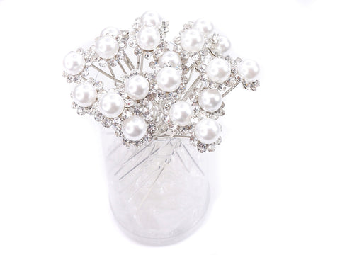 White Faux Pearl Crystal Flower Hair Pins Ideal for Bridal Party, Bridesmaids, Proms, Pageants Hair Pins, Pack of 20