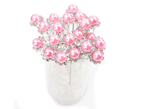 Light Pink Faux Pearl Crystal Flower Hair Pins Ideal for Bridal Party, Bridesmaids, Proms, Pageants Hair Pins, Pack of 20