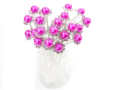 Fuschia Faux Pearl Crystal Flower Hair Pins Ideal for Bridal Party, Bridesmaids, Proms, Pageants Hair Pins, Pack of 20