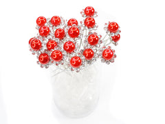 Red Faux Pearl Crystal Flower Hair Pins Ideal for Bridal Party, Bridesmaids, Proms, Pageants Hair Pins, Pack of 20