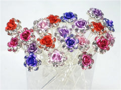 Pack of 20 Clear Crystal Color Ros Flower Hair Pins Ideal for Ebridal Party, Bridesmaids, Proms, Pageants