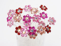 Color Crystal Flower Hair Pins Ideal for Bridal Party, Bridesmaids, Proms, Pageants Hair Pins, Pack of 20