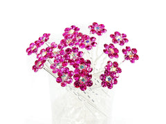 Fuschia Crystal Flower Hair Pins Ideal for Bridal Party, Bridesmaids, Proms, Pageants Hair Pins, Pack of 20