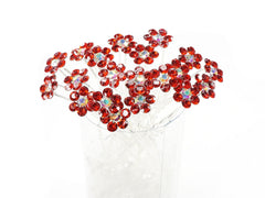 Red Crystal Flower Hair Pins Ideal for Bridal Party, Bridesmaids, Proms, Pageants Hair Pins, Pack of 20