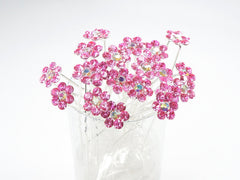 Pink Crystal Flower Hair Pins Ideal for Bridal Party, Bridesmaids, Proms, Pageants Hair Pins, Pack of 20