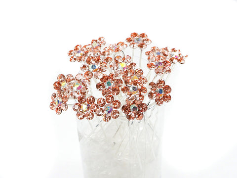 Topaz Crystal Flower Hair Pins Ideal for Bridal Party, Bridesmaids, Proms, Pageants Hair Pins, Pack of 20