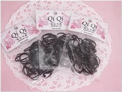 Pack of 150 Black Color Rubber Band Hair Ponytail Holder Scrunchies Accessories for Girl Women