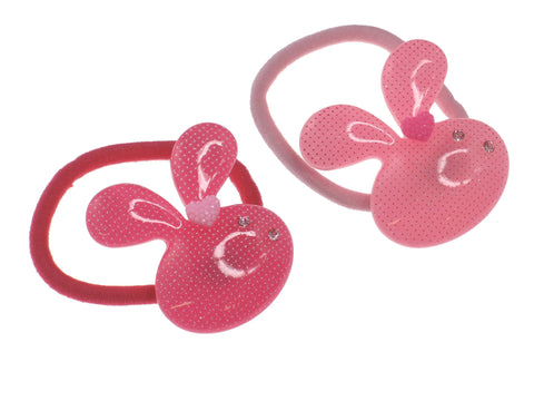 Pack of 2 Rabbit with Clear Crystal Girl Baby Toddler Hair Ties Ponytail Holder