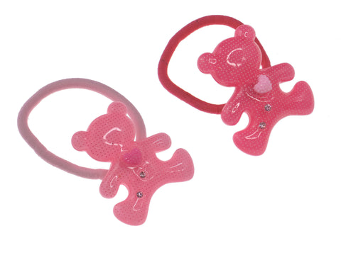 Pack of 2 Bear with Clear Crystal Girl Baby Toddler Hair Ties Ponytail Holder