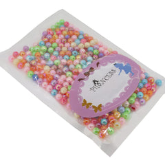 Colorful Acrylic Beads, AB Color, Round, Mixed Color, Size: about 6mm in diameter, hole: 1mm, about 470pcs/50g