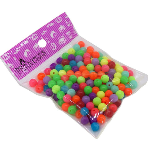 8mm Fluorescent Candy Ball Acrylic Beads, Color Randomly Mixed, 50g around 170pcs