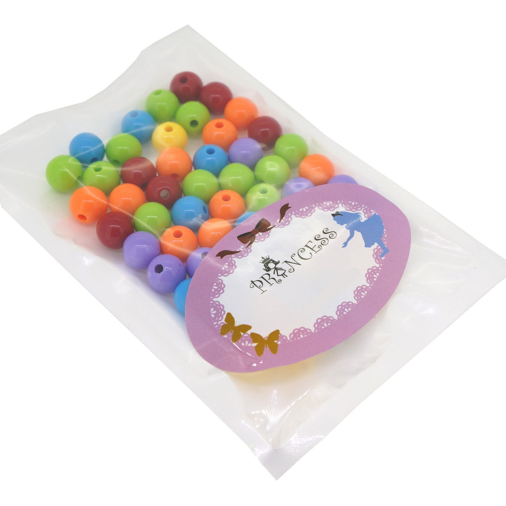 8mm Mixed Colour 50 x Acrylic Beads Round Fluorescent
