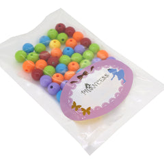 Mixed Color Acrylic Jewelry Beads, Loose Round Beads, DIY Material for Children's Day Gifts Making, Size: about 12mm in diameter, hole: 2mm, about 50pcs/50g