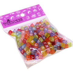 Randonly Mixed Acrylic Alphabet Beads, 6mm Cube, 3mm Hole, Colorful with White Letter, 50g approx.300pcs