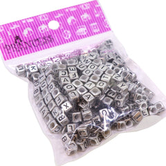 Randonly Mixed Acrylic Alphabet Beads, 6mm Cube, 3mm Hole, Silver with Black Letter, 50g approx.300pcs