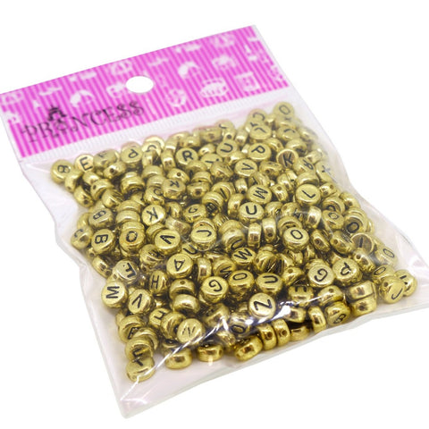 Randonly Mixed Acrylic Alphabet Beads, Flat Round 7mm Diameter, Gold with Black Letter, 50g  , approx 370pcs