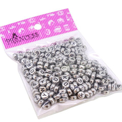 Randonly Mixed Acrylic Alphabet Beads, Flat Round 7mm Diameter, Silver with Black Letter, 50g , approx 370pcs