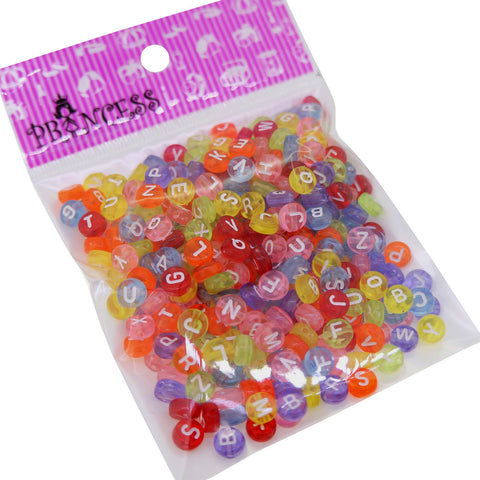 Transparent Acrylic Alphabet Beads, Flat Round with Letter, Mixed Color, 7x4mm, Hole: 1mm; about 360pcs/50g