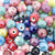 Handmade Porcelain Beads, Pearlized, Round, Mixed Color, 10mm, Hole: 2mm