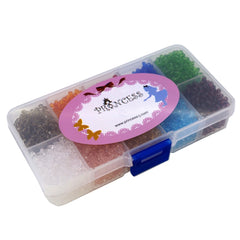 Glass Crystal Bicone Beads, 10 Mix Color Set, 3x3mm, 1mm Hole, approx. 4500 pcs, with Bead Container