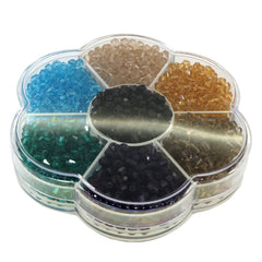 Glass Crystal Bicone Beads, 7 Mix Color Set, 4x4mm, 1mm Hole, approx. 1540 pcs, with Bead Container