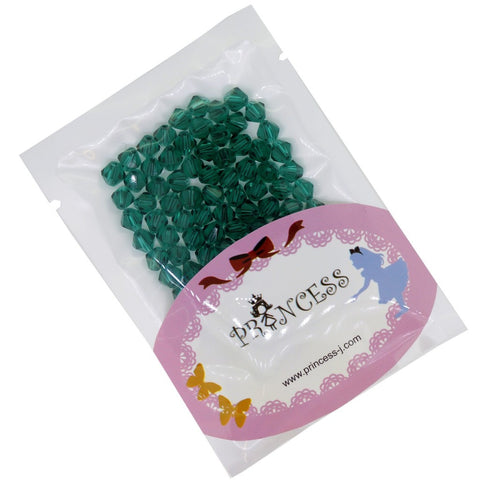Glass Crystal Bicone Beads, Dark Cyan Color, 6x6mm, 1mm Hole, approx. 100 pcs