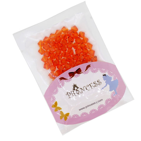 Glass Crystal Bicone Beads, Orange Color, 6x6mm, 1mm Hole, approx. 100 pcs