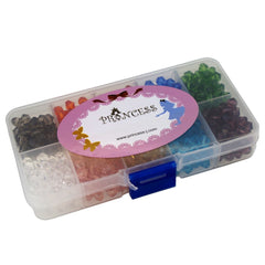 Glass Crystal Bicone Beads, 10 Mix Color Set, 6x6mm, 1mm Hole, approx. 750 pcs, with Bead Container
