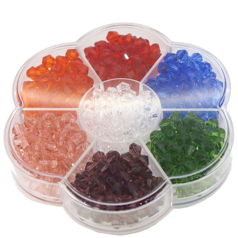 Glass Crystal Bicone Beads, 7 Mix Color Set, 6x6mm, 1mm Hole, approx. 525 pcs, with Bead Container