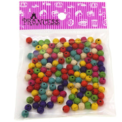 Princess-J Synthetic Turquoise Beads, Dyed, Round, Colorful, 6mm, Hole: 1mm, Pack of 120 pcs
