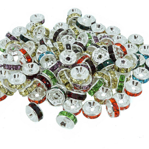 8mm Mixed Crystal Color Brass Rhinestone Beads, Straight Flange, Silver Metal Color, Rondelle, Pack of 100