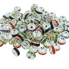 6mm Mixed Crystal Color Brass Rhinestone Beads, Straight Flange, Silver Metal Color, Rondelle, Pack of 100