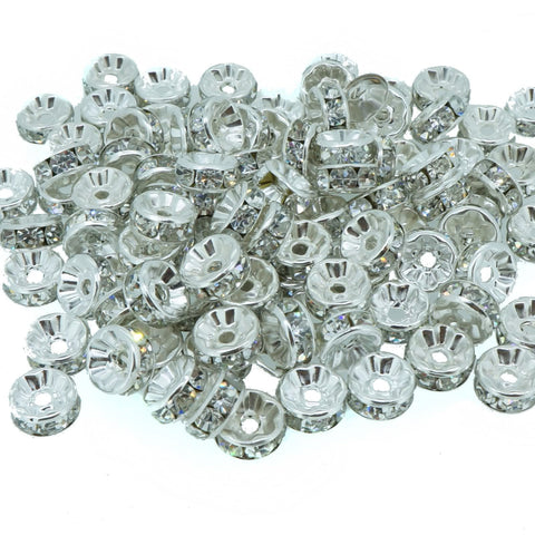 6mm Clear Crystal Color Brass Rhinestone Beads, Straight Flange, Silver Metal Color, Rondelle, Pack of 100