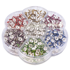 6mm Color Crystal Brass Rhinestone Beads, Straight Flange, Silver Metal Color, Rondelle, Pack of 700