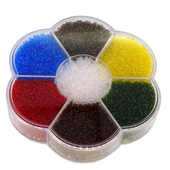 11/0 Tramsparent Glass Round Seed Beads for Jewelry Making, 7 Colors with Bead Container, approx 6300pcs