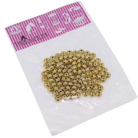 Tibetan Metal Bead Spacers for Jewelry Bracelet Necklace Making, Antique Golden, Pack of 200