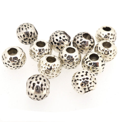 Ball Alloy Beads for Jewelry Bracelet Necklace Charm Making, Round, 7mm Round Antique Silver, Pack of 50