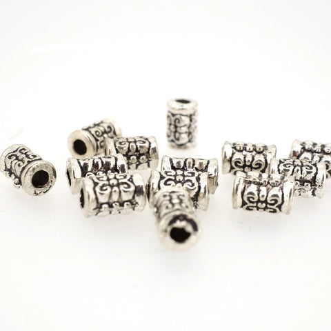 Tube Shape Tibetan Style Beads for Jewerly Bracelet Necklace Charm Making, 7mm, Antique Silver, Pack of 50