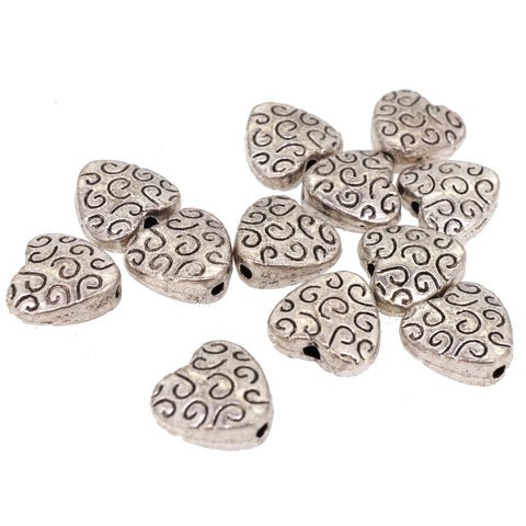 Heart Tibetan Style Beads for Jewerly Bracelet Necklace Charm Making, 9x9x4mm, Antique Silver, Pack of 50