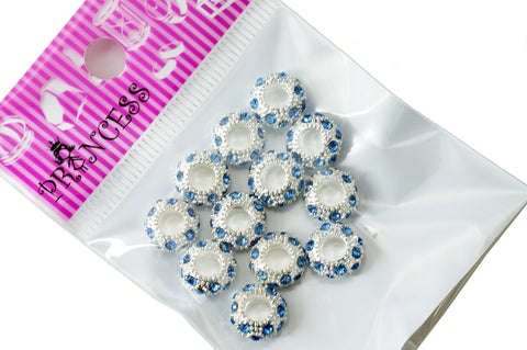 Charm Beads,  Color Crystal Spacer for European Bracelet - Medium Sapphire