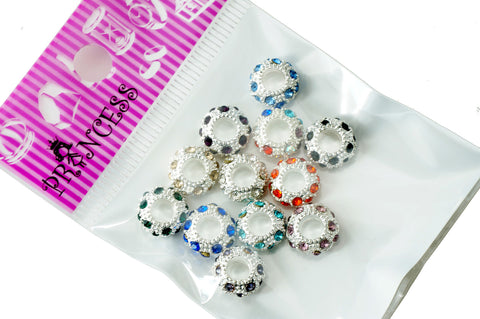 Charm Beads,  Color Crystal Spacer for European Bracelet - Multi Color